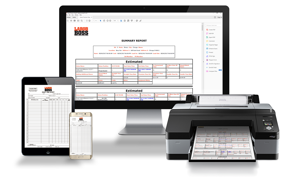 Labor Boss software displayed on a desktop, tablet, and mobile device.